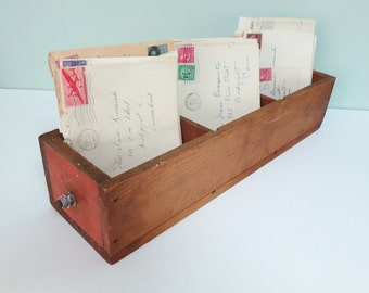 Vintage Primitive Wooden Drawer with Three Sections, Divided, Long Narrow Size, Metal Screw & Bolts Knob