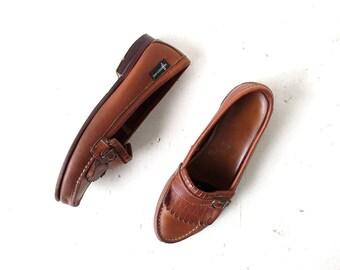 Vintage Leather Loafers   Eastland    Fringe Buckle Shoes   Size 8 1/2