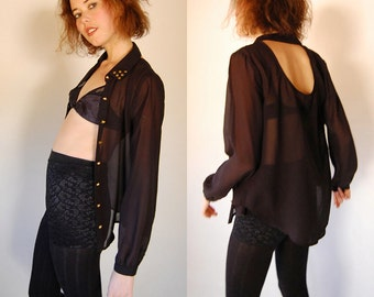 Sheer Studded Blouse Vintage 90s Sheer Black Cut Out Back Studded Draped Glam Blouse (s)