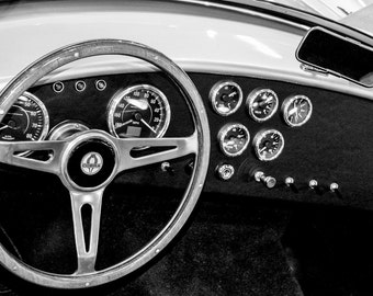1965 Ford Shelby Cobra Steering Wheel & Dashboard Car Photography, Automotive, Auto Dealer, Mechanic, Boys Room, Garage, Dealership Art
