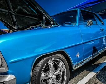 1966 Chevrolet Chevy II Nova Car Photography, Automotive, Auto Dealer, Classic, Sports, Belair, Mechanic, Boys Room, Garage, Dealership Art