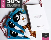 Snowman and Tuxedo Cat Christmas Gift Tags | Pack of 4 | String Included | LAST ONE
