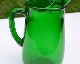 Mid-Century Forest Green Depression Glass Pitcher, Anchor Hocking