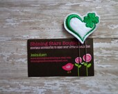 Planner Supplies - White And Emerald Green St. Patrick's Day Love Heart With A Shamrock Felt Paper Clip Or Bookmark - Accessory For Planners