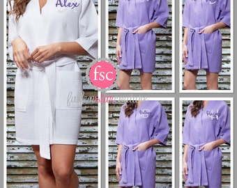 Bridesmaid Monogrammed Waffle robes , WAFFLE wedding robes , bridesmaid gifts , personalized wedding robes , monogrammed robe