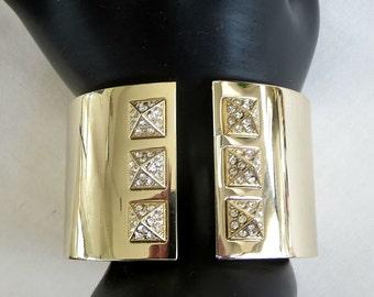 Victoria's Secret Rhinestone Bracelet Vintage Bright Gold Tone Hinged Clamper