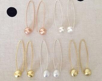 Sterling Silver Long Ball Earrings