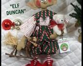"""Primitive Raggedy 23"""" Folk Art Christmas~""""Elf Duncan""""~AdOrAbLe Elf w/toy ornies~"""