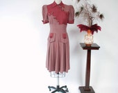 Vintage 1930s Dress - RARE Incredible FOGA Two Tone Striped Late 30s Day Dress with Fantastic Button Accents in Soft Plum &  Grey