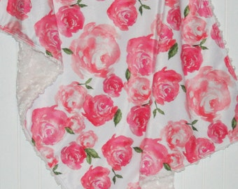 floral baby blanket | crib blanket | peony minky blanket | floral minky blanket | pink blanket | crib bedding | minky baby blanket
