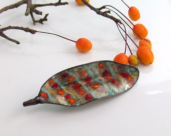 Fall Jewelry Striped & Dotted Leaf Lapel Pin, Hand Crafted Copper Enameled Brooch, OOAK Original Vitreous Enamel, WillOaksStudio