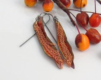 Burnt Orange Copper Enamel Leaf Earrings, Copper Golden Dangles, Transparent Vitreous Glass Enamel, WillOaks Studio OOAK, Ready to Mail
