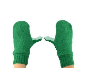 Kids Mittens in Bright Greens - Recycled Wool Sweaters