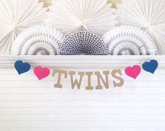Twins Banner - 5 Inch Letters with Hearts - Twin Baby Shower Twins Shower Decor The Twins Garland Twins Baby Banner Twins Baby Shower Decor