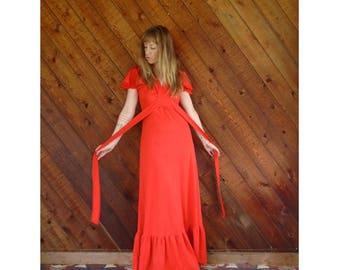 Red Flutter Sleeve Boho Maxi Dress - Vintage 70s - S Petite