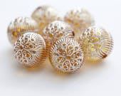 Carved Etched Round Yellow Silver Acrylic Beads 18mm (6)