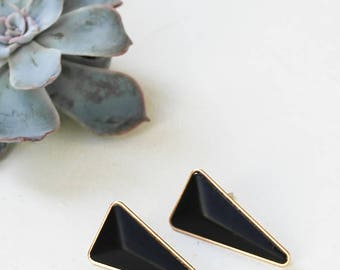 Long Hendrix Earrings, Post Earrings, Triangle Earrings, Dangle Earrings, Black Earrings, Golden Earrings