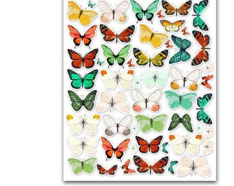 Stickers | Butterfly Bush Colorful Retro Planner Scrapbook Cardmaking