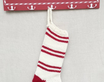 Knit Christmas Stocking- Wool Stocking- Customized Christmas Stocking- Striped Christmas Stocking- Red & White Stocking