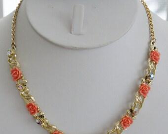 "Beautiful  Vintage Faux Coral Rose, Aurora Borealis Rhinestone Necklace, Adjustable up to 18"" (T13)"