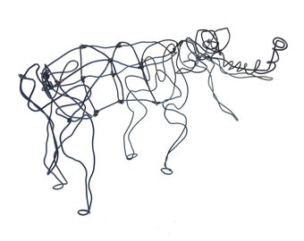 Wire Elephant sculpture ~ Vintage abstract Elephant art piece
