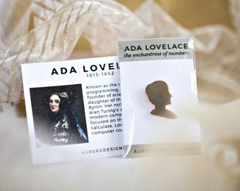 Ada Lovelace Programmer Lapel Pin, Geek Gift for Her, Geeky Stocking Stuffer, Feminist Pin