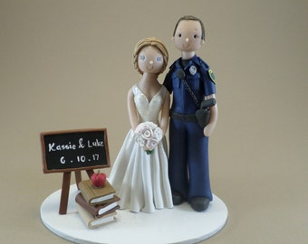 Police Officer & Teacher Custom Wedding Cake Topper