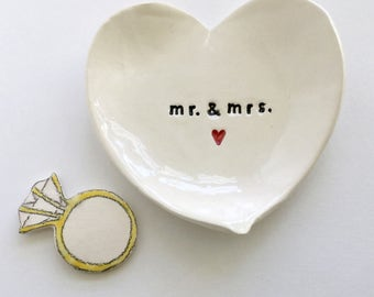 Mr & Mrs engagement gift ring holder heart shaped jewelry dish handmade by Cathie Carlson