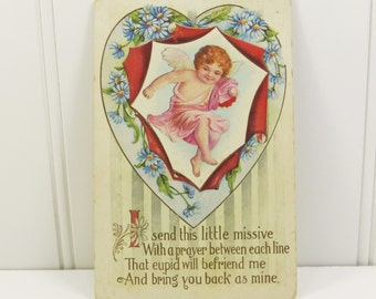Antique Valentine Heart with Cupid Handwritten Used Postcard, Embossed Blue Daisy Heart Post Card