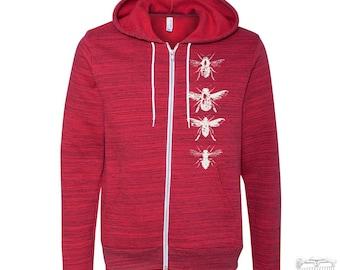 Unisex BEES Zip Hoody Fleece TriBlend Sweatshirt (+ Colors) Hand Screen Printed s m l xl xxl