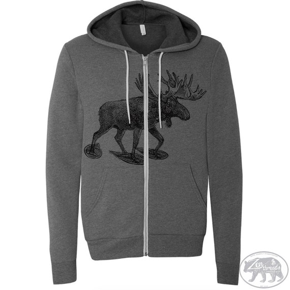 Unisex MOOSE (in Snow Shoes) Fleece Zippered Hoody - American apparel xs s m l xl xxl  (+ Colors)