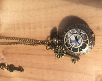 Vintage, Antique Looking Bronze Pocket Watch Locket on Chain with Keys