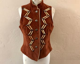 Suede Buffalo Bone Vest - vintage cowgirl - Frontier brown suede vest - beaded vest - southwestern - Native American - boho - troppobella