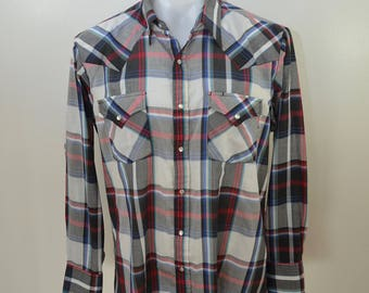 Vintage ELY CATTLEMAN plaid WESTERN shirt made in usa