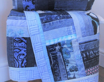 Denim Blue Country Cottage / Shabby Chic Patchwork Quilt Bed Runner Throw Custom / Made to Order