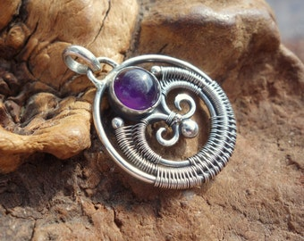 Amethyst Wire Wrapped Pendant ~ Sterling Silver, Amethyst Necklace, Wire Wrap, Handmade, February Birthstone, Art Nouveau, Elven, Unique