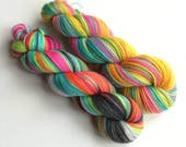 Hand dyed yarn pre-order.  Trolls inspired variegated wool yarn. Dyed to order. You choose yarn base and amount. sock dk.  Two colourways.