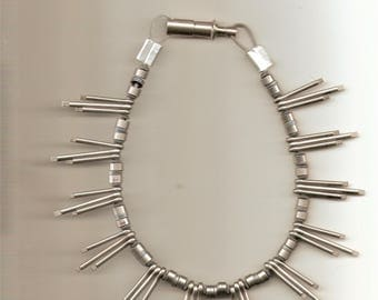 Vintage Silver Tone Spike Choker Necklace