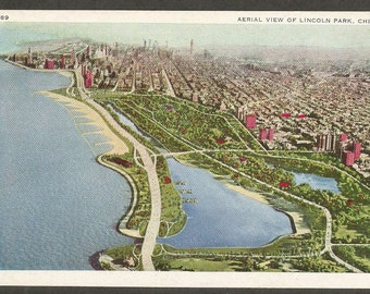 Chicago, Illinois Vintage Postcard - Aerial View of Lincoln Park (Unused)
