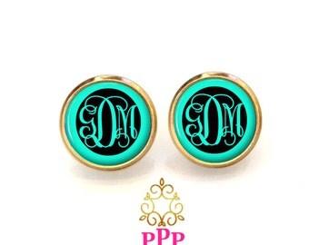 Aqua Monogram Earrings, Monogram Stud Earrings, Monogram Jewelry (392)