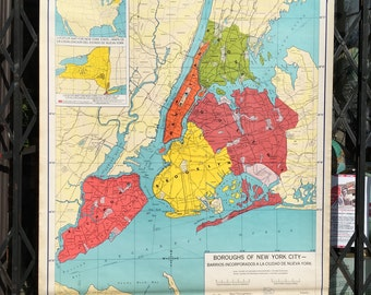 Boroughs of New York City! School Map 1965 Pull Down Vintage Classroom Map Very Rare