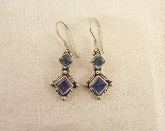 Vintage Sterling Silver and Blue Topaz Earrings