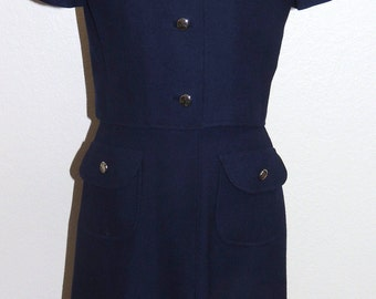 1970s Navy blue 2 pc Dress and Jacket set Size Small