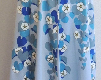 Miss Shaheen Screen Print Baby Blue Floral Knee Length Skirt size S to M
