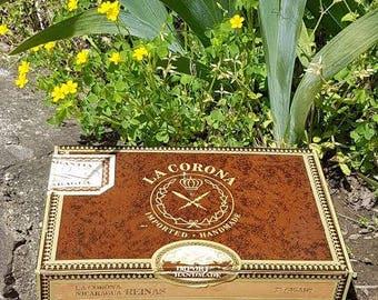 Vintage La Corona Wooden Cigar Box Nicaragua