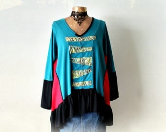 Plus Size 3X Bohemian Clothes Colorful Hippie Top Art To Wear Upcycled Tunic Teal V-Neck Shirt Artsy Smock Top Lagenlook Clothing 'LARISSA'