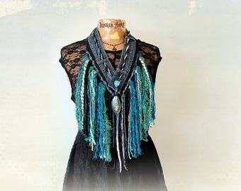 Tribal Fringe Scarf Shabby Shaggy Bohemian Festival Hippie Jewelry Denim Necklace Native American Tassel Scarf Upcycled Fashion 'TRICIA'
