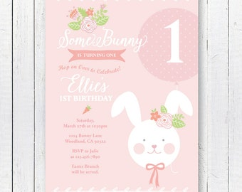 DIGITAL FILE Some Bunny is One Invite, Bunny Invitation, Pink Bunny Party, Bunny Birthday