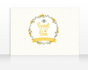 Sweet as can Bee Backdrop, Bee Banner Backdrop, Bee Baby Shower Backdrop, 60x40inch HIGH RESOLUTION FILE