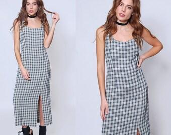 Vintage 90s PLAID Maxi Dress Sleeveless GRUNGE Dress Hipster Dress Maxi Shift Dress 90s REVIVAL Dress